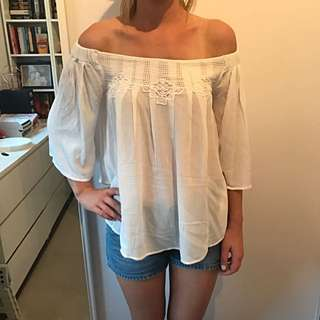 Off The Shoulder White Top With Tags