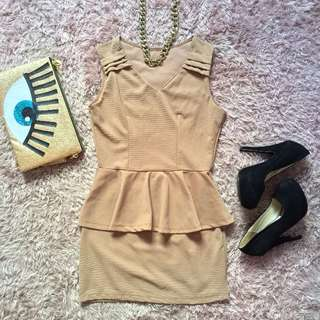 Nude Peplum Dress