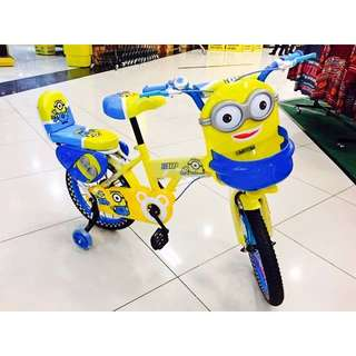 """Minion 16"""" inch Air Tyre Children Bicycle Basikal Tricycle Twin Seat"""
