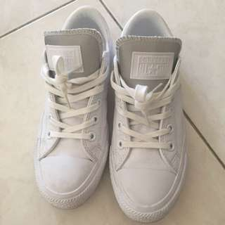 Converse All White Leather Sneakers US 6