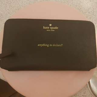 Kate Spade Black Saffiano Leather Passport Holder