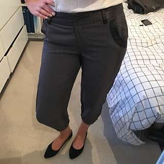 Grey Cropped And CuffedTrousers