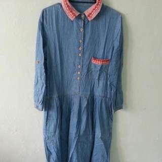 日系。森林系 牛仔色洋裝