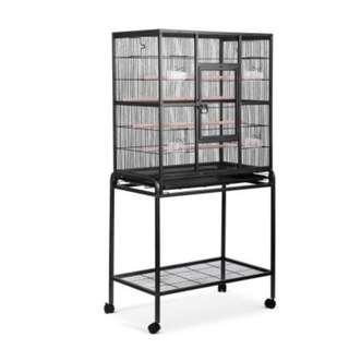 Pet Parrot Aviary Bird Cage w/ Wheels Stand 160cm Black