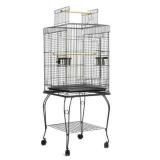 Parrot Pet Aviary Bird Cage w/ Open Roof 145cm Black