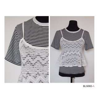 Stripe T-shirt with Lace Layering