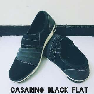 CASARINO BLACK SEMI LEATHER FLAT SHOES