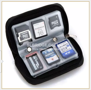 Micro SD Memory Card Storage Carrying Zipper Pouch Case . 18 Slots For SD, SDHC, MMC, XD, Memory Stick Pro Duo, MiniSD or MicroD / 4 Slots For CF Cards, Smart Media, MicroDrive Or Nintendo DS Games