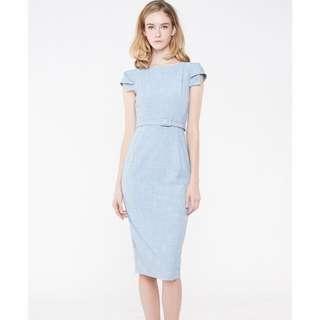 Capped Sleeved Midi Work Dress