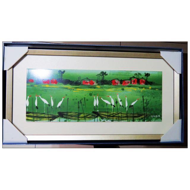 全新大幅磁磚畫2003年畫作田園小鎮壁畫 掛飾