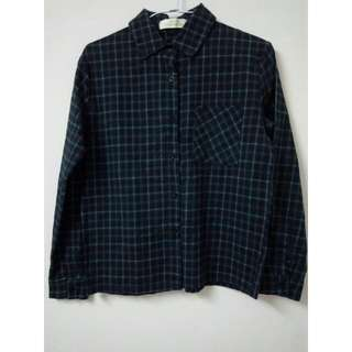 KOUZOU類絨布 墨綠 挺版 格紋 襯衫 外套