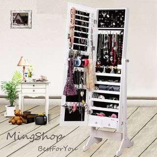 豪華型收納穿衣鏡櫃/首飾收藏櫃(四色可選)