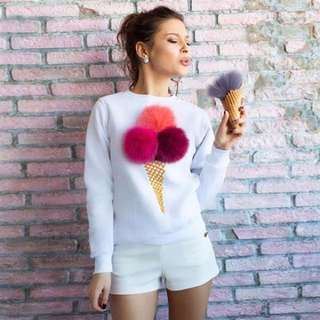 sweater ice cream pom pom
