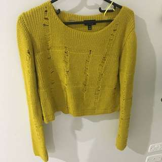 Forever 21 Ripped Crop Sweater