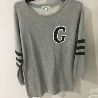ValleyGirl Grey Oversized letter sweater