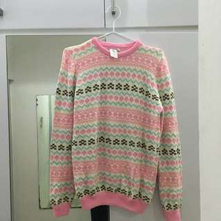 Pink Tribal Knitted Sweater by KEVAS.CO