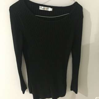 Black Fitted Ribbed Sweater