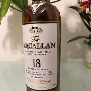 The Macallan 18 Years Sherry Oak Single Malt Whisky (no Box Not 12 15 yo)
