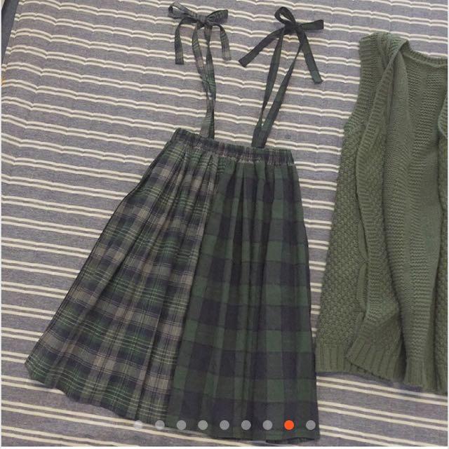 古著格子吊帶裙