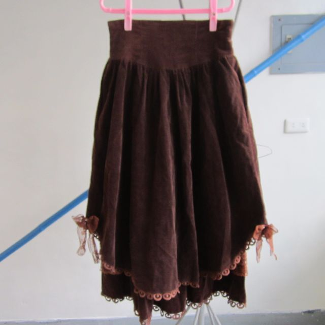 古著棕色燈芯絨長裙