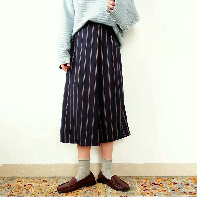 條紋打褶寬褲裙
