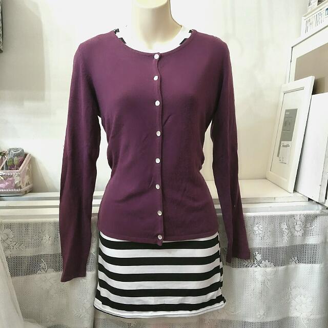 二手。紫色針織長袖外套