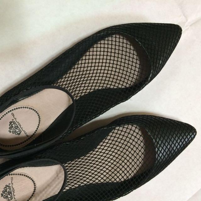 網紗 尖頭鞋 38號