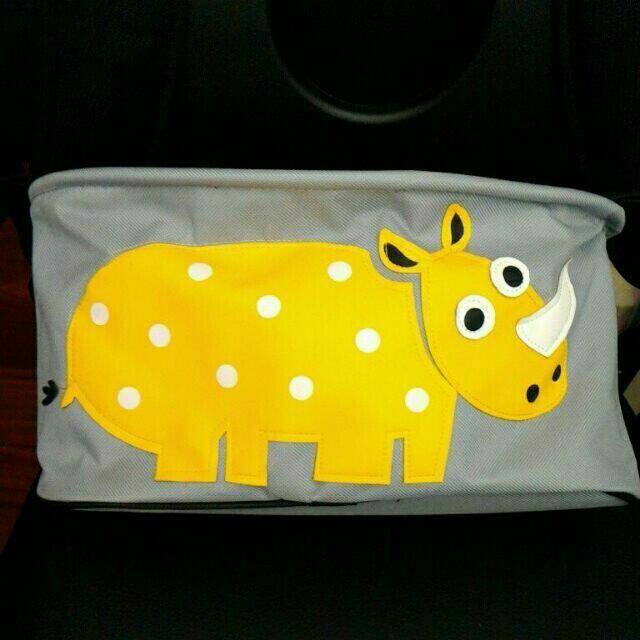 可愛動物嬰兒推車掛袋 推車置物袋 嬰兒用品收納包 車籃車袋 收納袋-黃犀牛