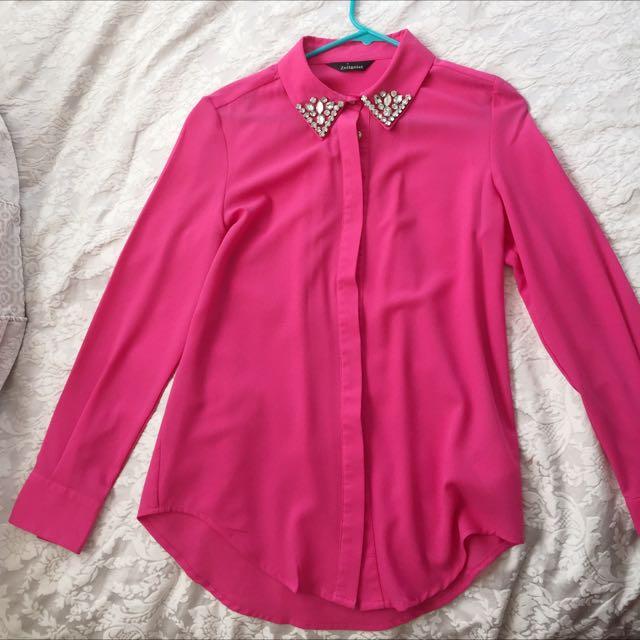 Bejewelled Pink Shirt