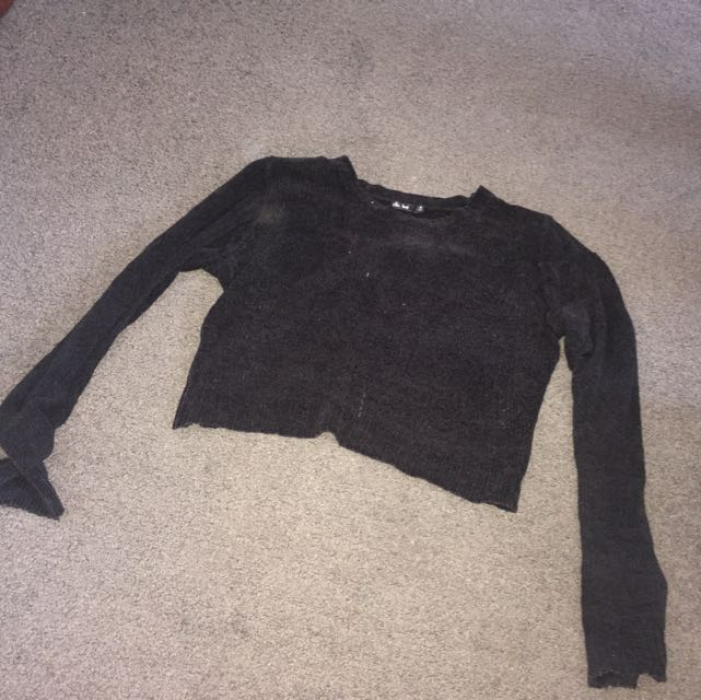 Black Cropped Wool Jumper