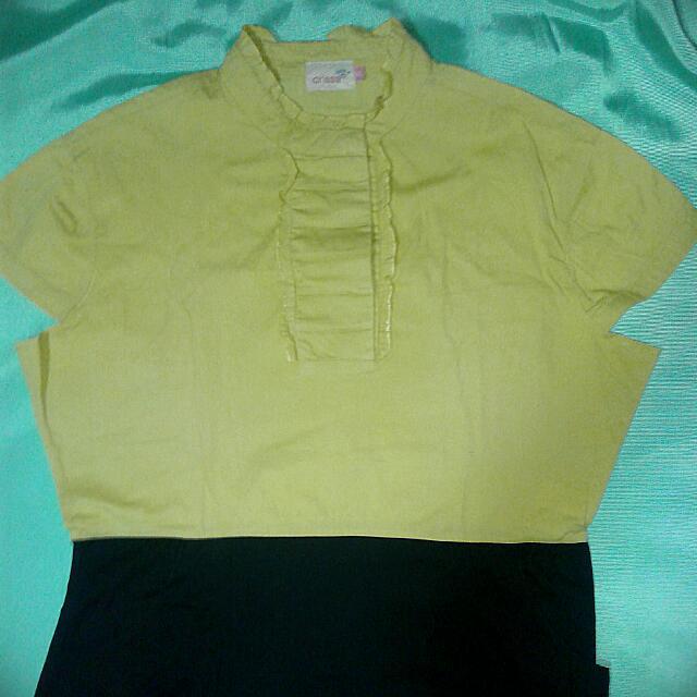 Crissa Teens XXL Casual Dress - Yellow Ochre and Black (REPRICED)