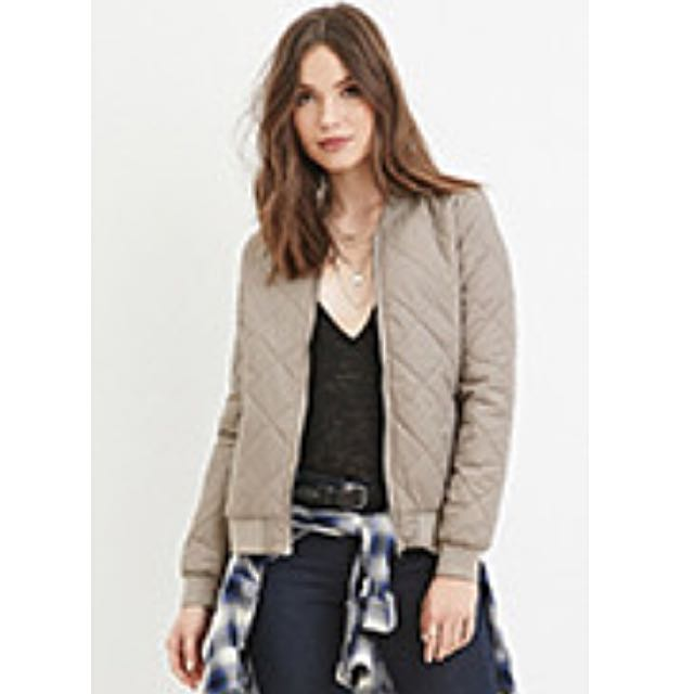 F21 Quilted Bomber Jacket