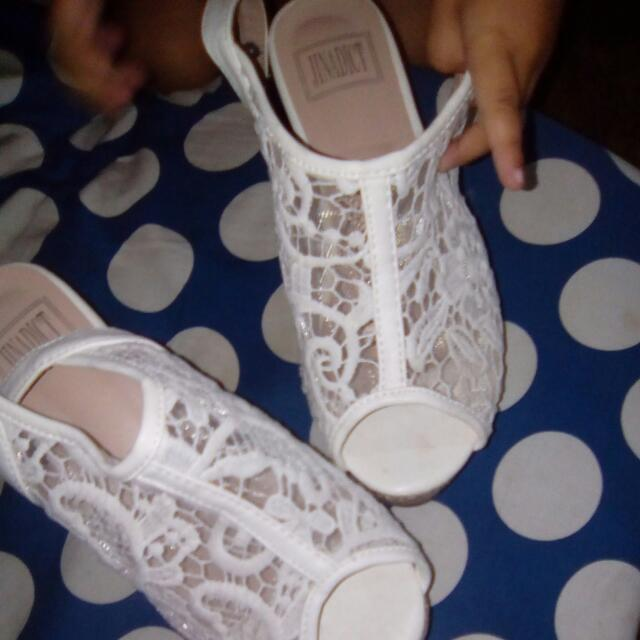 Fashion LACE wedge USED Only ONCE ! Hurry . Buy Now ! Best For Any Occasion