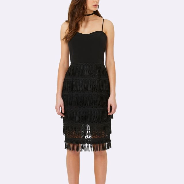Forever New black Fringe Dress