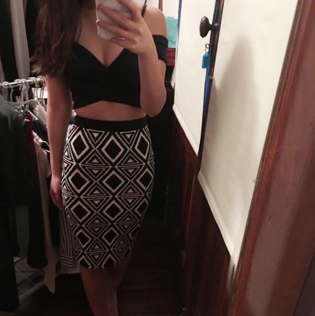Geometric Bodycon Pencil Skirt