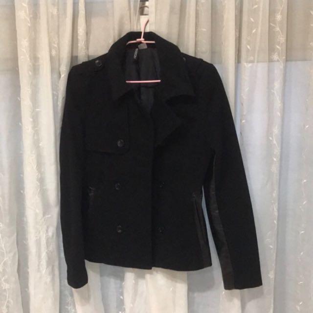 H&M 毛呢拼接西裝外套