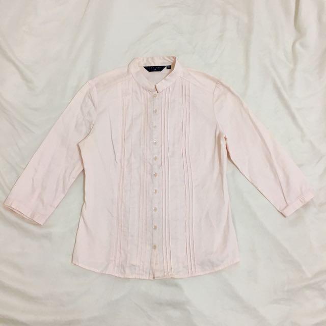 MASTINA 粉色柔軟帆布材質襯衫上衣