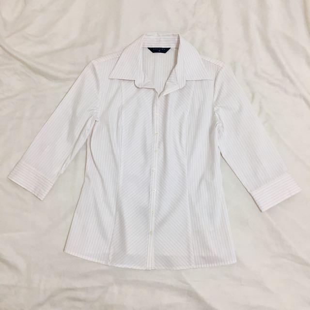 Mastina 粉色細條紋合身襯衫上衣 七分袖