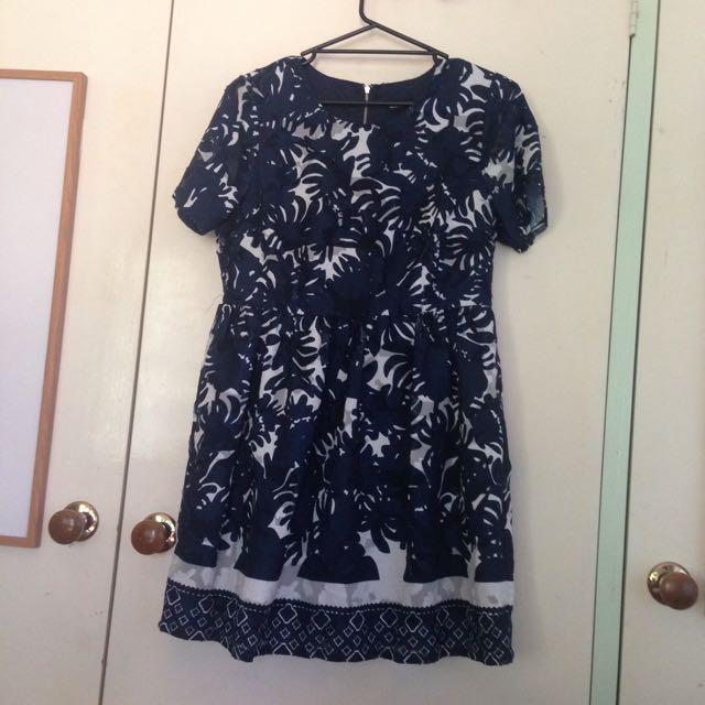 Navy Print Dress Dotti