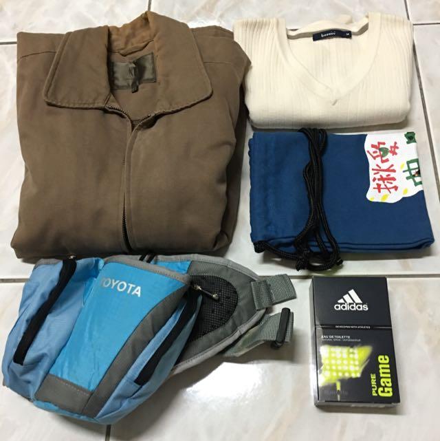 (全部)NET外套、bossini背心、TOYOTA腰包(可裝水)、adidas香水、布背包