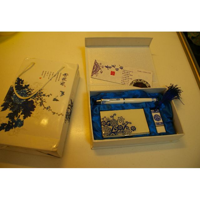Nice Gift - blue and white porcelain - Pen Cardholder and USB Drive