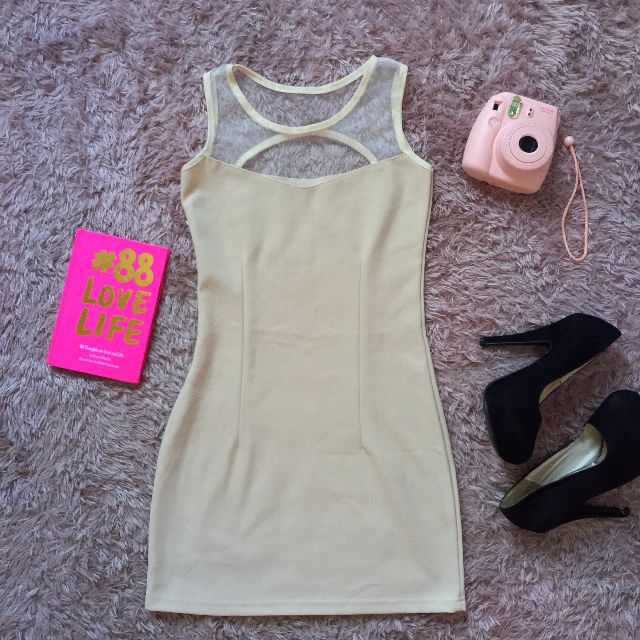 Nude Mesh Bodycon Dress