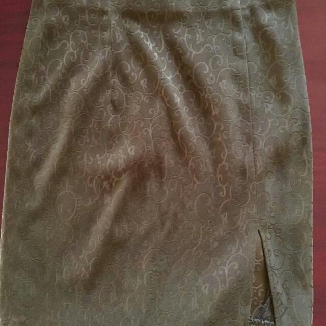 Olive Velvet Skirt