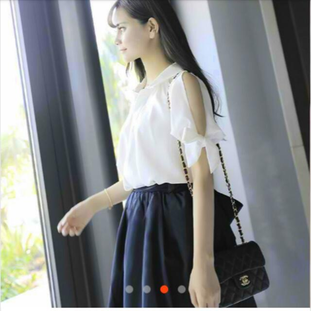 Open Sleeve White Collared Office Wear