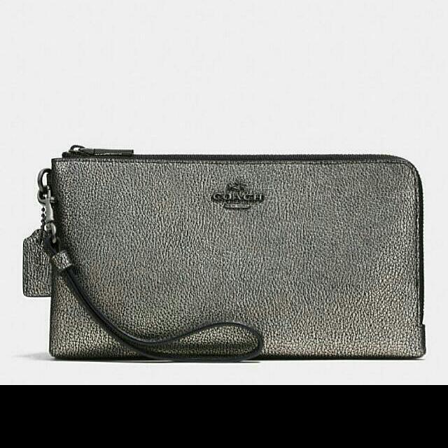 Original Coach Double Zip Leather Wallet / Dompet Kulit