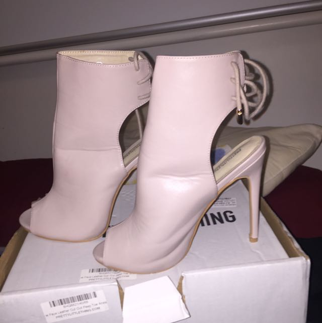 Pretty Little Thing Nude Peep Toe Booties