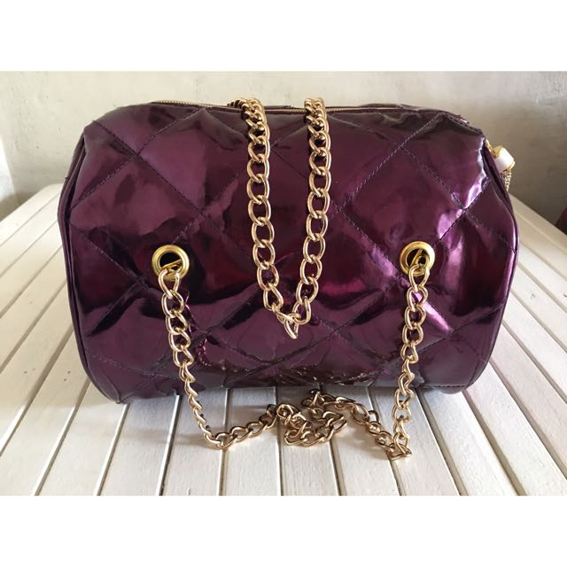 Purple Bag With Gold Straps