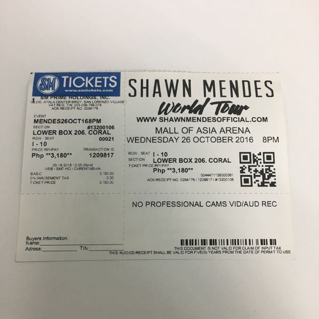 Shawn Mendes Concert Ticket