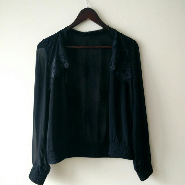 Sheer Black Silk And Lace Club Monaco Bomber XS