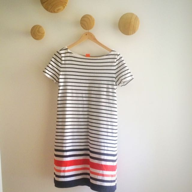 Stripe Dress - Navy/white/red 100% Cotton Stretch